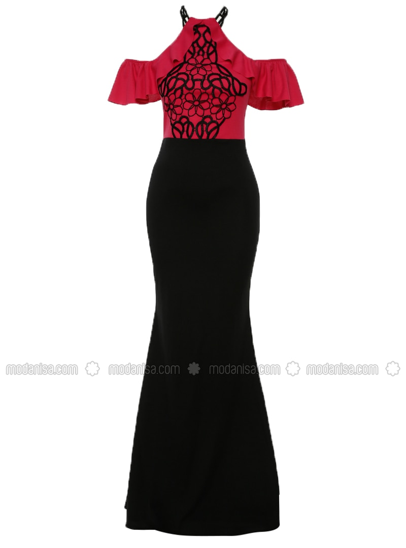 Black - Fuchsia - Unlined - Crew neck - Muslim Evening Dress