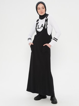 Black - White - Crew neck - Unlined - Dress