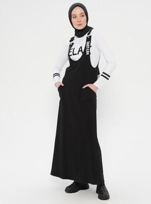 Black - White - Crew neck - Unlined - Dress