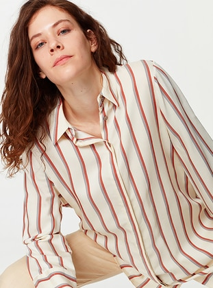 Ecru - Stripe - Point Collar - Tunic