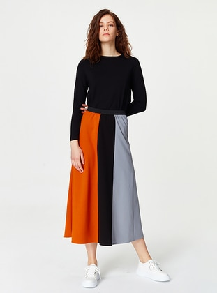 Gray - Unlined - Cotton - Skirt