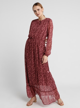 Plum - Multi - Crew neck - Fully Lined - Dress