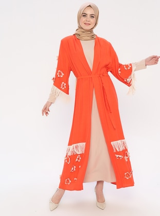 Orange - Unlined - Crew neck - Abaya