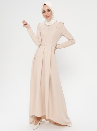 Beige - Unlined - Crew neck - Muslim Evening Dress