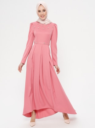 Pink - Unlined - Crew neck - Muslim Evening Dress