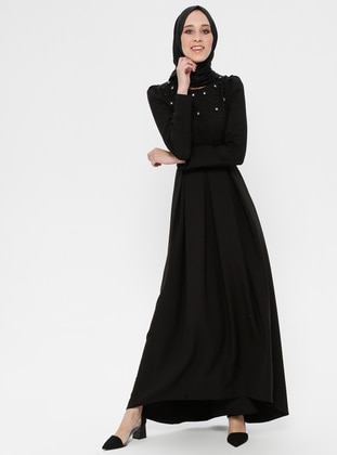 8788fc9b13a1d İncili Taş Detaylı Abiye Elbise - Siyah