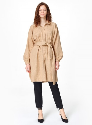 Beige - Multi - Point Collar - Tunic