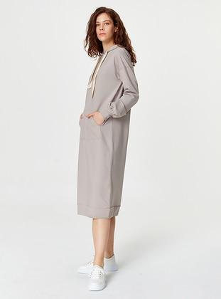 Gray - Unlined - Cotton - Dress