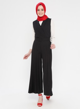 Black - Unlined - Shawl Collar - Cotton - Viscose - Jumpsuit
