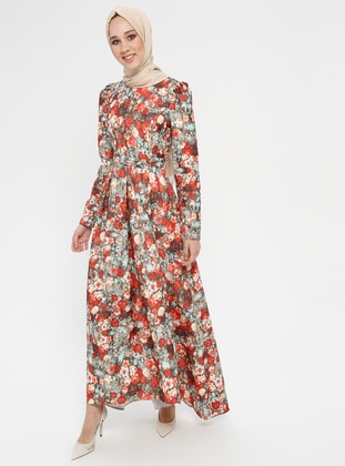 Green - Terra Cotta - Floral - Crew neck - Unlined - Dress