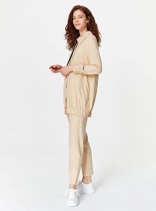Beige - Unlined - Point Collar - Jacket