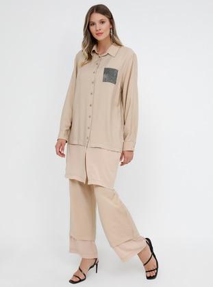 Beige - Point Collar - Unlined - Plus Size Suit
