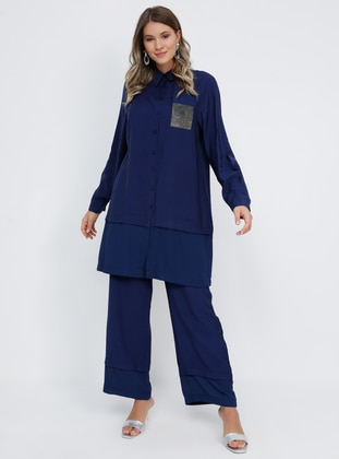 Blue - Navy Blue - Indigo - Point Collar - Unlined - Plus Size Suit