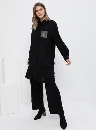 Black - Point Collar - Unlined - Plus Size Suit