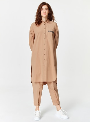 Camel - Point Collar - Cotton - Tunic