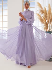Lilac - Fully Lined - Muslim Evening Dress