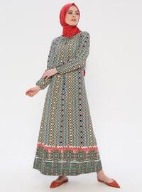 Blue - Ethnic - Crew neck - Unlined - Dress