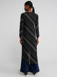 Black - Stripe - Crew neck - Tunic