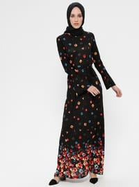 Black - Multi - Crew neck - Unlined - Dress