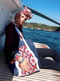 Navy Blue - Maroon - Beach Bags