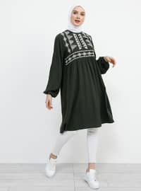 Khaki - Crew neck - Viscose - Tunic