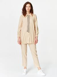 Beige - Unlined - Point Collar - Jacket