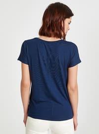 Navy Blue - Crew neck - T-Shirt