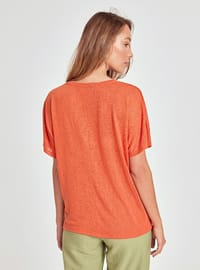 Orange - V neck Collar - T-Shirt