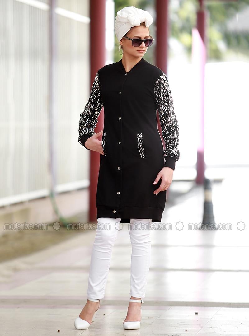 Black - V neck Collar - Cardigan