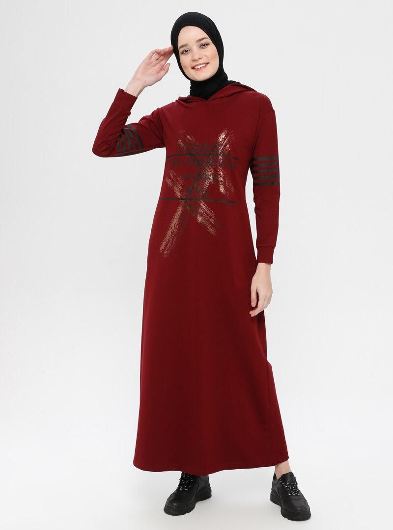 Sportify Bordo Baskılı Kapüşonlu Elbise