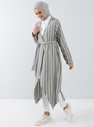 Black - Stripe - Unlined - Shawl Collar -  - Topcoat