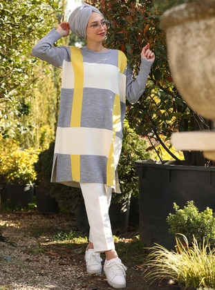 Yellow - Gray - Geometric - Checkered - Plaid - Crew neck - Cotton - Acrylic - Tunic