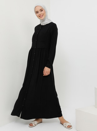 Black - Button Collar - Unlined - Viscose - Dress