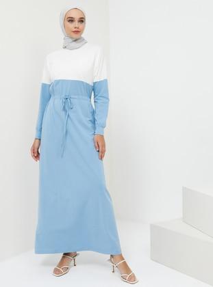 Blue - Indigo - Crew neck - Unlined - Cotton - Dress