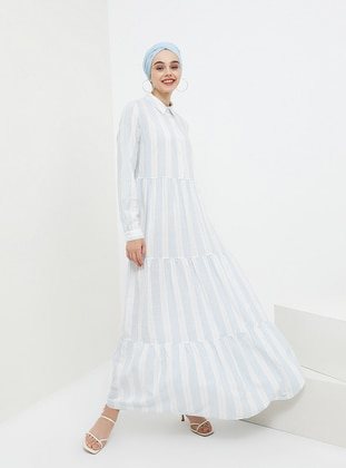 c2f32d1f Navy Blue - Stripe - Point Collar - Unlined - Cotton - Viscose - Dress