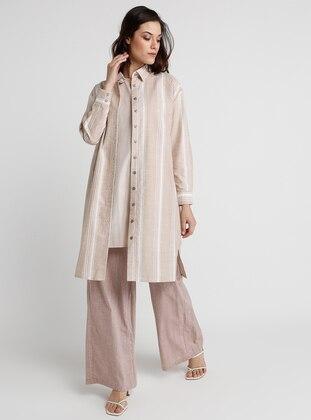 Camel - Stripe - Point Collar - Cotton - Tunic