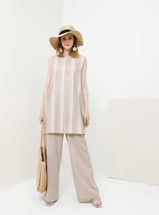 Camel - Stripe - Crew neck - Cotton - Tunic