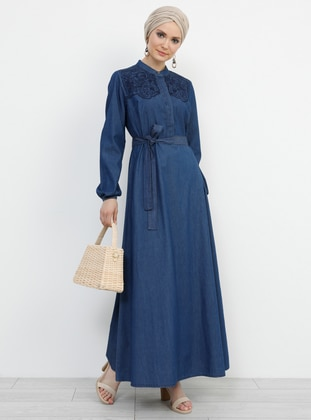 Navy Blue - Crew neck - Unlined - Cotton - Denim - Dress