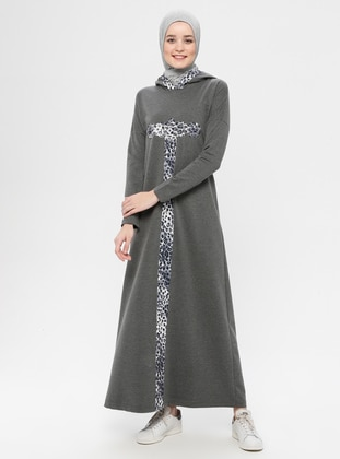 Anthracite - Leopard - Unlined - Cotton - Dress
