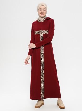 Maroon - Leopard - Unlined - Cotton - Dress