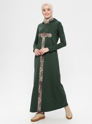 Khaki - Leopard - Unlined - Cotton - Dress