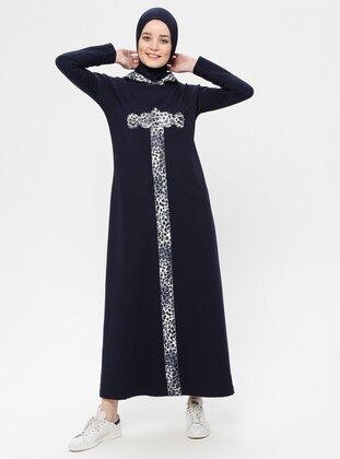 Navy Blue - Leopard - Unlined - Cotton - Dress