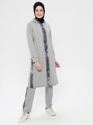 Gray - Leopard - Cotton - Tracksuit Set