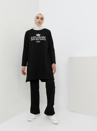 Black - Cotton - Viscose - Crew neck - Tracksuit Set