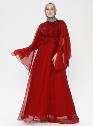 Maroon - Floral - Fully Lined - Crew neck - Muslim Evening Dress