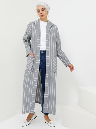 Navy Blue - Stripe - Unlined - Cotton - Topcoat