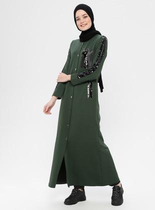 Khaki - Unlined - Crew neck - Cotton - Topcoat