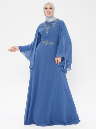 Blue - Fully Lined - Crew neck - Muslim Evening Dress