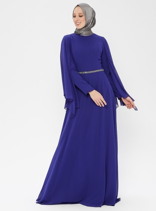 Saxe - Fully Lined - Crew neck - Muslim Evening Dress