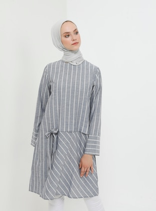 Navy Blue - Stripe - Crew neck - Cotton - Tunic